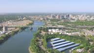WS AERIAL POV Sacramento river and city, Sacramento, California