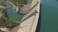 WS AERIAL POV Sacramento River and Shasta Dam at California