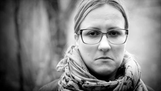 Sad woman. Close up. Black and white