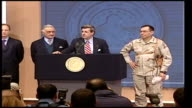 Saddam Hussein sentenced to death by hanging LIB Paul Bremer press conference on capture of Saddam Hussein SOT Ladies and gentlemen we got him