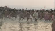 Sadhus run joyfully into Ganges during Kumbh Mela festival, Uttar Pradesh, India