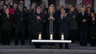 Sadiq Khan Amber Rudd and Craig Mackey attending a candelight vigil for the victims of the Westminster terror attack in Trafalgar Square