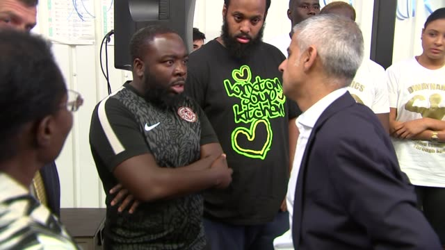 Sadiq Khan and Cressida Dick at Dwaynamics knife crime event and interviews ENGLAND London Brixton EXT Sadiq Khan and Cressida Dick arrival and...