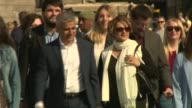 Sadiq Khan elected Mayor of London / Speculation over Labour divisions 652016 EXT Sadiq Khan and wife Saadiya towards with supporters
