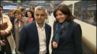 London St Pancras International INT Sadiq Khan greets Anne Hidalgo as she disembarks from train / Sadiq Khan statement to press SOT proud to welcome...