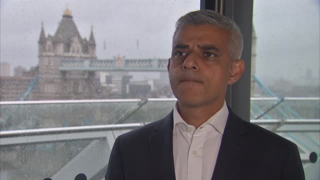 London City Hall INT Sadiq Khan interview SOT re policing of football games stop and search acid attacks