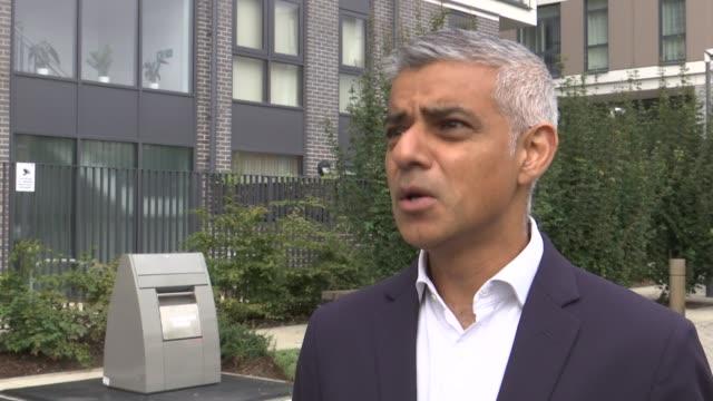 Sadiq Khan launches London Housing Strategy Various shots of new flats near Robin Hood Gardens Sadiq Khan interview SOT /