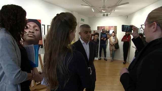 Sadiq Khan meets grime artists to talk about London knife crime ENGLAND London INT Sadiq Khan talking to people at event Various shots 'London Needs...