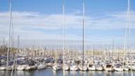 Sail boat harbor in Barcelona.