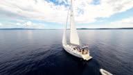 AERIAL Sailboat In The Adriatic Sea