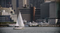 Sailboat on the Hudson River with Manhattan in the Background