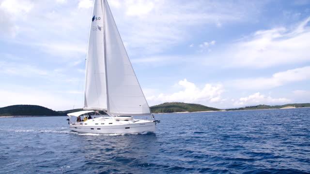 SLO MO WS Sailboat Sailing Along The Coastline