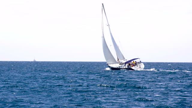 LS Sailboat Sailing On The Open Sea