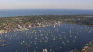 WS AERIAL POV Sailboats in Newport Harbour / Newport, Rhode Island, United States