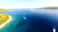 AERIAL Sailboats sailing in the bay