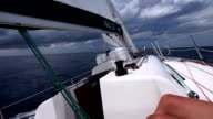 Sailing at storm, boat point of view