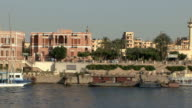 WS POV Sailing down Nile looking at East bank, Luxor, Egypt