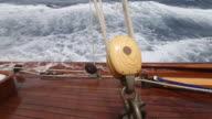 Sailing onboard classic yacht 'Adventuress', Antigua Classic Yacht Regatta, British West Indies