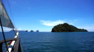 Sailing towards Ko Ngai, Ko Ma, Ko Chueak and Ko Mook, Andaman Sea, Trang, Thailand.