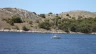 A sailnig boat near the Zut island, Kornati National Park