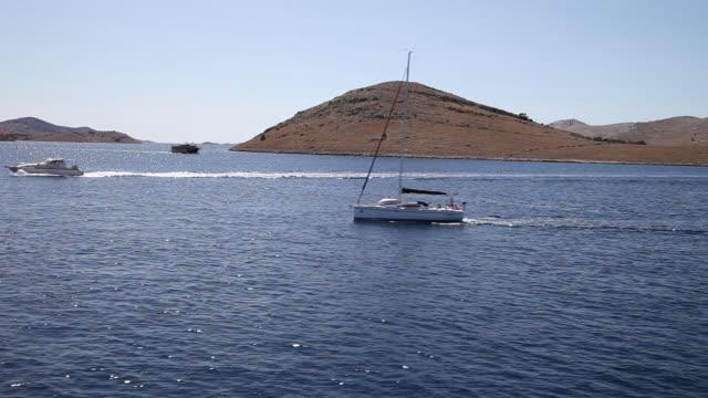 A sailnig boats near the Zut island, Kornati National Park