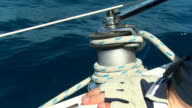 HD SLOW MOTION: Sailor Turning The Winch