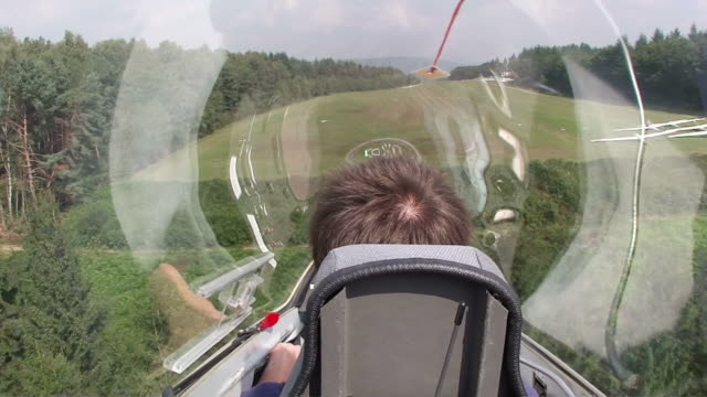 MS POV Sailplane landing / Konz-Koenen, Saar-Valley, Rhineland-Palatinate, Germany