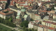 AERIAL Saint Lukas Church and surrounding buildings, Munich, Bavaria, Germany