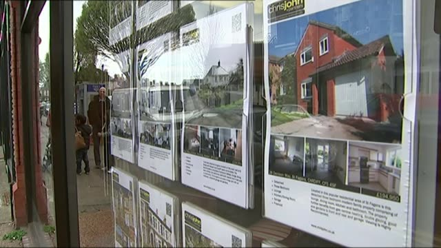 Sajid Javid calls for government to borrow to invest in new homes T10041444 / 1042014 Cardiff EXT Property detials displayed in estate agents window...