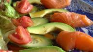 Salad salmon avocado