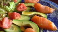 Salad salmon with avocado