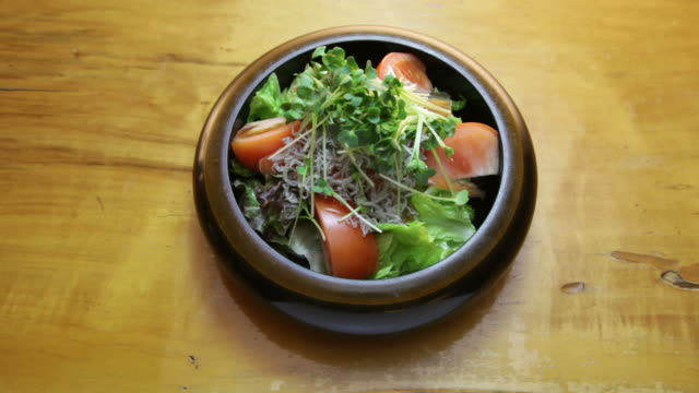 Salad with small fish.