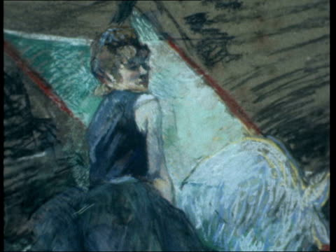 Sale of Impressionist artist's work London Sotheby's MS Pull along wall of pictures Barron into shot CMS Painting Ciric Fernando by Toulouse Lautrec...
