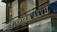 pubs under threat LIB Sign for the Hammer Anvil pub Exterior of the Snooty Fox Inn pub