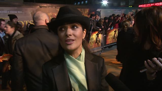 Salma Hayek on being surprise watching the film Antonio Banderas's character being asked to be in the film at the Puss In Boots UK Film Premiere at...