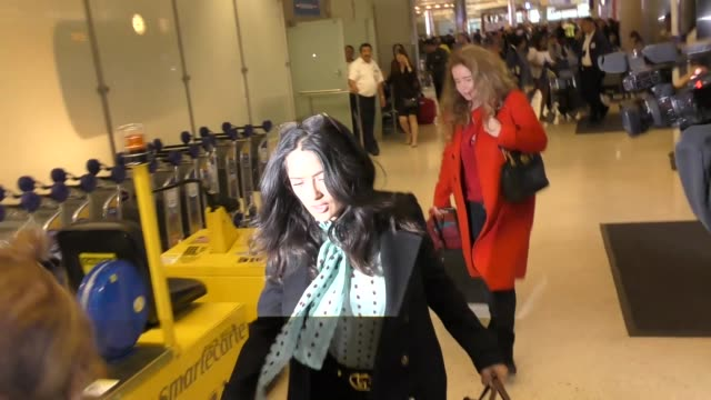 INTERVIEW Salma Hayek talks about dressing as a clown on a flight while departing at LAX Airport in Los Angeles in Celebrity Sightings in Los Angeles
