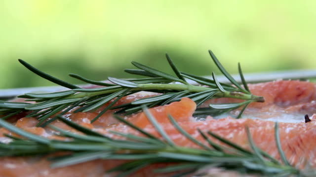 salmon and rosemary bbq