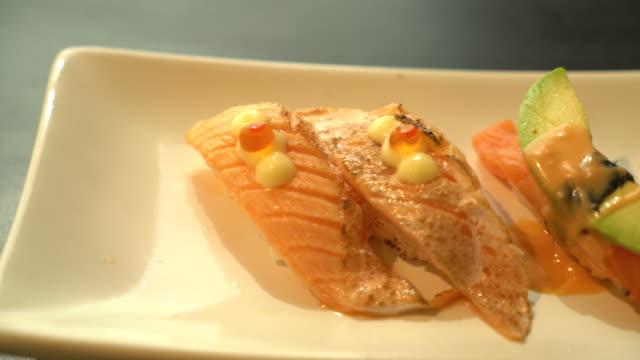 salmon avocado nigiri