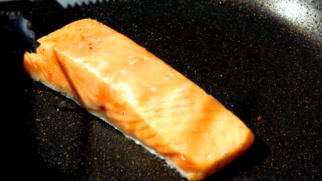 Salmon on fried