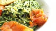 Salmon pesto with pasta