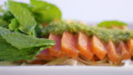 Salmon sashimi with wasabi and spicy sauce