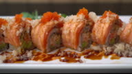 salmon sushi rolls - japanese food