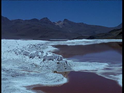 Salt crust swirls around waters of salt lake, mountains in distance.