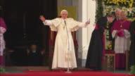 Saluting the crowd of pope benedict XVI