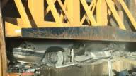 Salvage Yard Car Crusher Smashing Vehicle