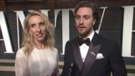 INTERVIEW Sam TaylorJohnson and Aaron TaylorJohnson at the 2015 Vanity Fair Oscar Party Hosted By Graydon Carter at Wallis Annenberg Center for the...