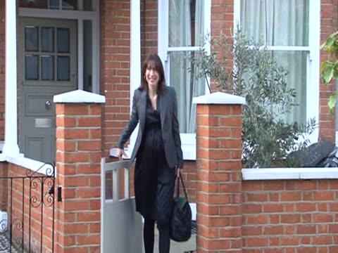 Samantha Cameron wife of new British Prime Minister David Cameron leaves family home