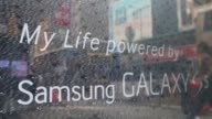 A Samsung Electronics Co Galaxy Note 3 smartphone sits on display at a Samsung Partnershop retail store in the Central district of Hong Kong China on...