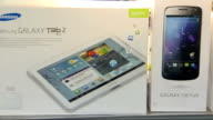 Samsung ordered to pay one billion dollars to Apple ENGLAND INT Samsung products on display in shop including Galxy Nexus Tab 2 Galaxy Note and...