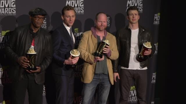 Samuel L Jackson Tom Hiddleston Joss Whedon Chris Evans at 2013 MTV Movie Awards Press Room on 4/14/13 in Los Angeles CA